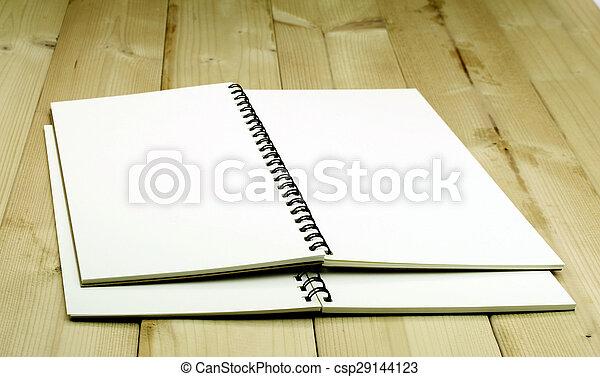 aperto, tavola, quaderno - csp29144123
