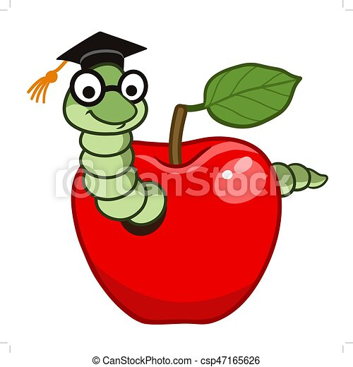 Bücherwurm clipart  Apfel, bücherwurm. Tragen, studienabschluss, schule, eyeglasses ...