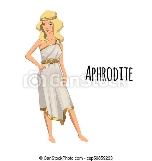 Aphrodite Ancient Greek Goddess Of Love And Beauty Mythology Flat Vector Illustration Isolated On White Background
