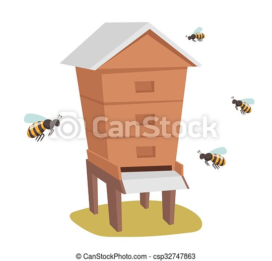 Apiary Honey Bee House Vector Illustrations