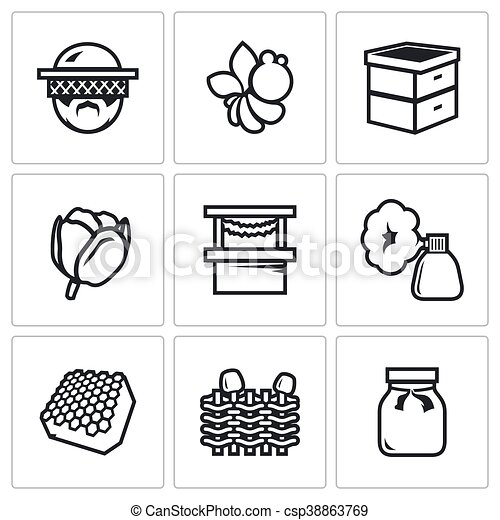 Top Clipart vecteur de apiculteur, ensemble, fleur, pot., abeille  IL17