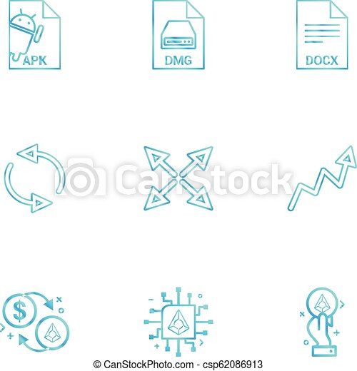 Apk, android, dmg, apple, docx, docuument, reset, arrows, graph, dollar,  crypoto, 9 eps icons set vector