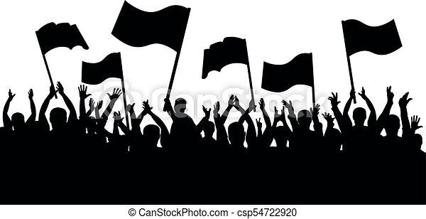 aplauso, torcida, pessoas., silueta, esportes, alegre, ventiladores, bandeiras - csp54722920