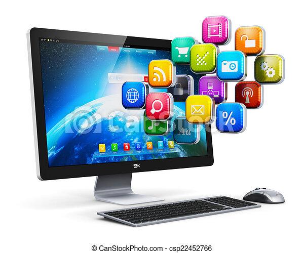 aplicações, conceito, computador, internet - csp22452766