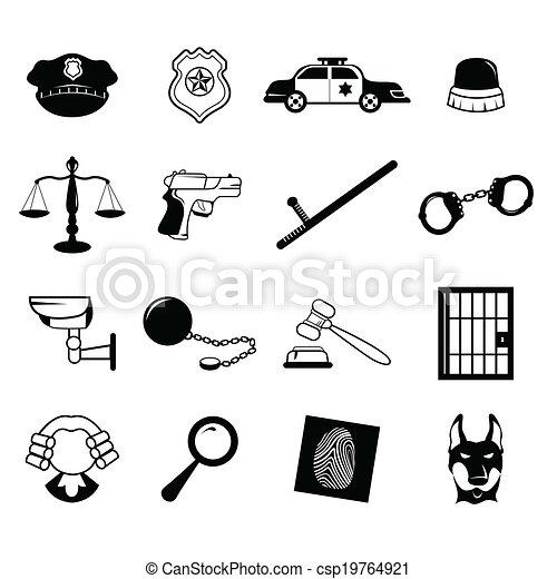 iconos de las fuerzas del orden - csp19764921