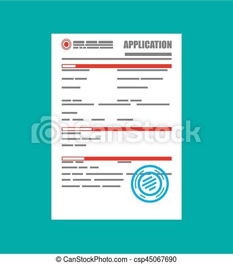 Formulario de solicitud de papel en blanco con sello - csp45067690