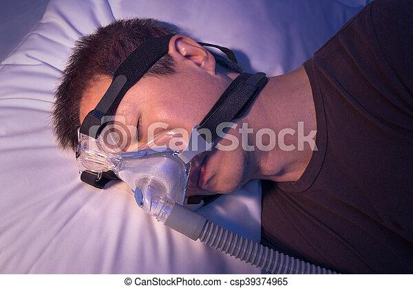 apnea, edad, sueño, máquina, medio, sueño, asiático, utilizar, cpap, hombre - csp39374965