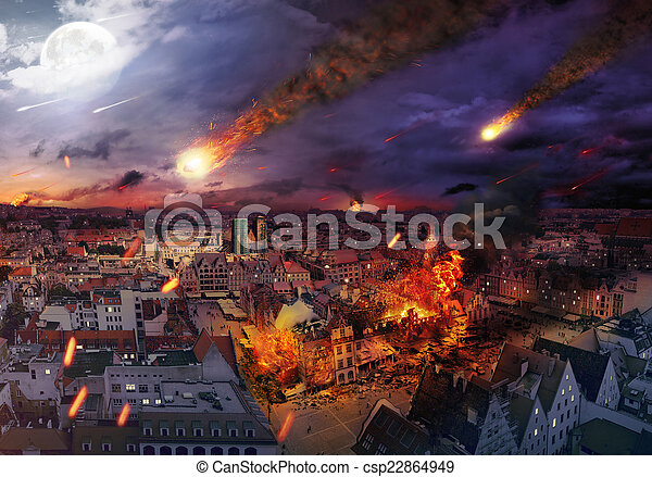 Apocalypse caused by a meteorite - csp22864949