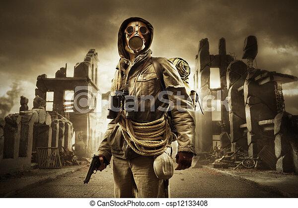 apocalyptic, maszk, állás, gáz, túlélő - csp12133408