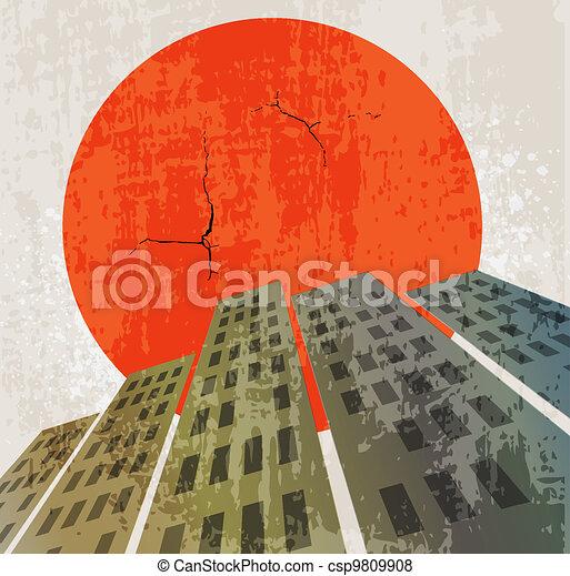 Apocalyptic retro poster. Sunset. Grunge background. - csp9809908