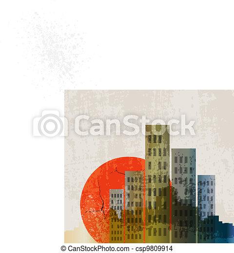 Apocalyptic retro poster. Sunset. Grunge background. - csp9809914
