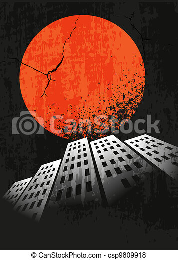 Apocalyptic retro poster. Sunset. Grunge background. - csp9809918