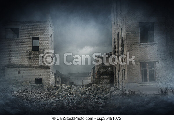 Apocalyptic ruins of the city. Disaster effect - csp35491072