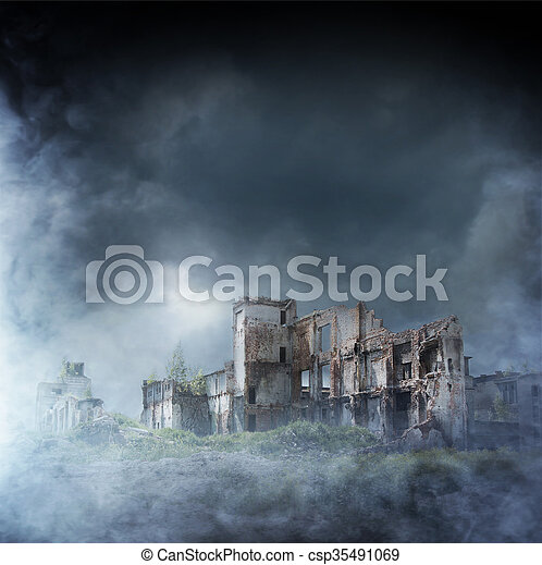 Apocalyptic ruins of the city. Disaster effect - csp35491069