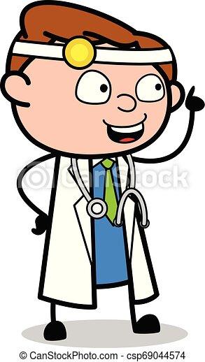 apontar, doutor, -, ilustração, falando, vetorial, profissional, caricatura - csp69044574
