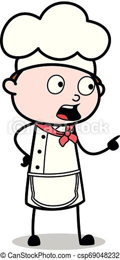 apontar, garçom, -, ilustração, cozinheiro, falando, enquanto, vetorial, macho, caricatura, gesto - csp69048232