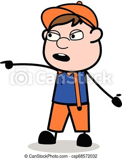 apontar, trabalhador, -, carpinteiro, falando, enquanto, vetorial, illustration?, retro, caricatura - csp68572032