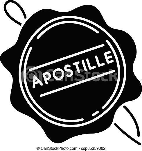 Apostille wax seal black glyph icon - csp85359082