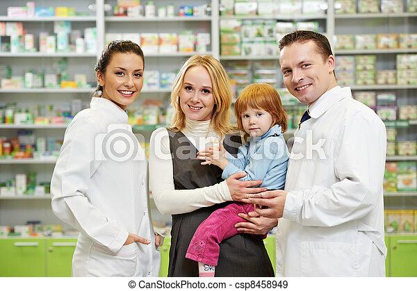 apotek, barn, apotekeren, drugstore, mor - csp8458949