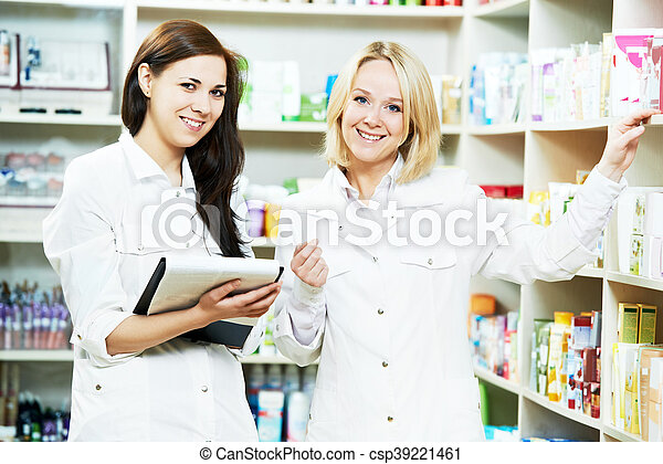 apotek, drugstore, apotekeren, kvinder - csp39221461