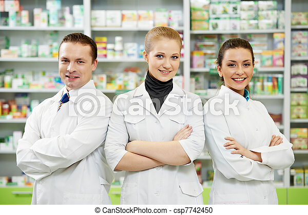 apotek, hold, kvinder, drugstore, apotekeren, mand - csp7742450