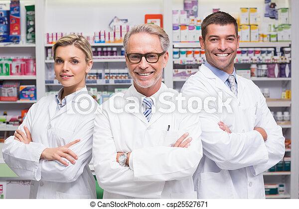 apotekere, kamera, smil, hold - csp25527671
