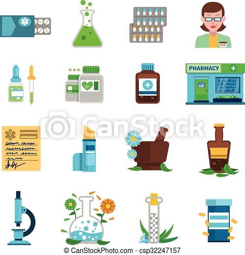 Pharmazie-Ikonen bereit - csp32247157