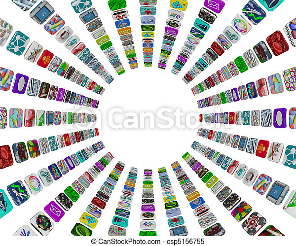 App Buttons in Circular Pattern - White Background - csp5156755