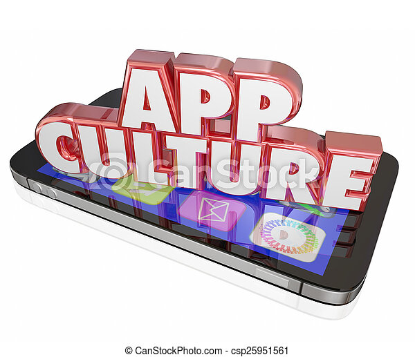 App Culture 3d Words Cell Mobile Phone Download Applications Sof - csp25951561