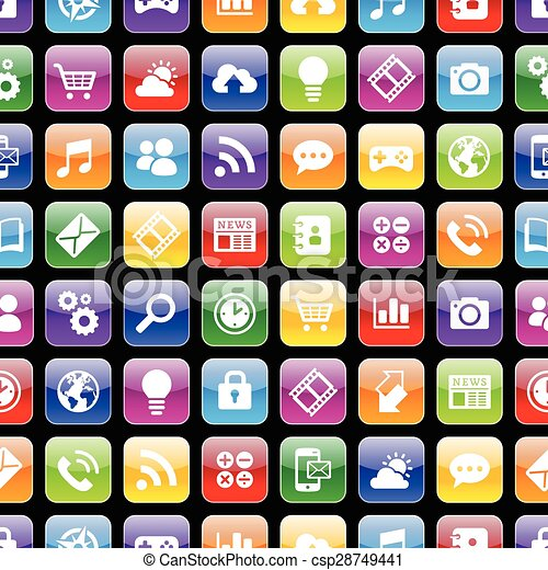 App icons 3d Texture with Reflection - csp28749441