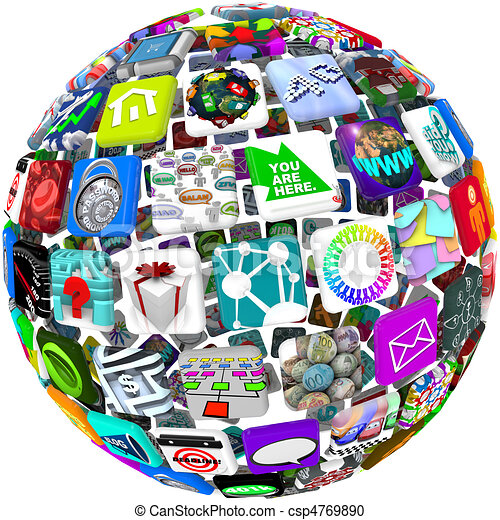 App Icons in a Sphere Pattern - csp4769890