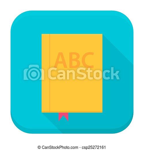 Icono de aplicación de libros con sombra larga - csp25272161