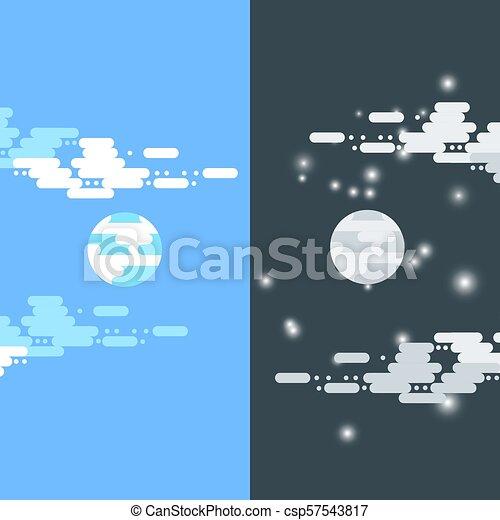 app, período, clouds , banners , tiempo, transmisión, nube, sol, cielo,  luna, ilustraciones, plano, ilustración, mitad, día, ciclo, móvil, moon ,