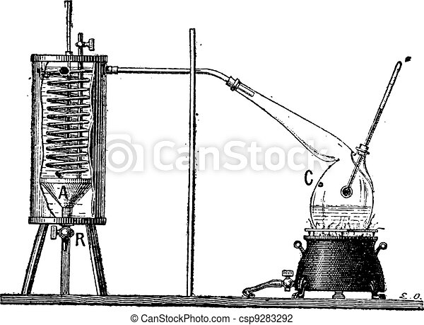 Apparatus for Measuring the Latent Heat of Vaporization of a Liquid, vintage engraving - csp9283292