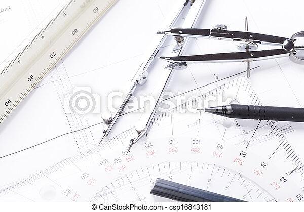 apparecchiatura, cianografie, oggetti, architetto, posto lavoro - csp16843181