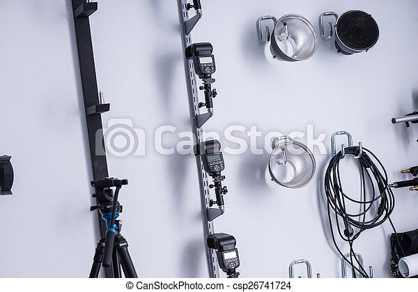Apparecchiatura fotografica illuminazione studio neatly