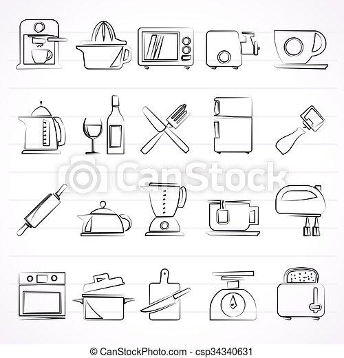 Apparecchiatura utensili cucina icone set oggetti for Oggetti da cucina