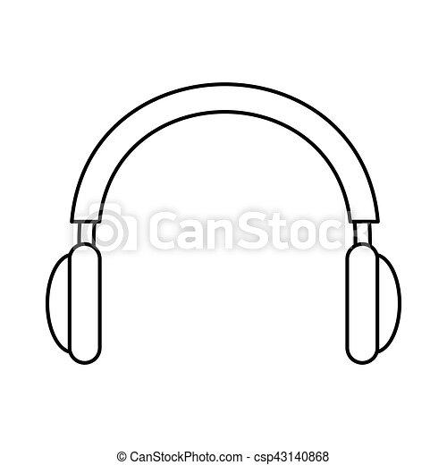 Dessin Casque Audio appareil, audio, casque, isolé, icône. isolé, illustration, casque