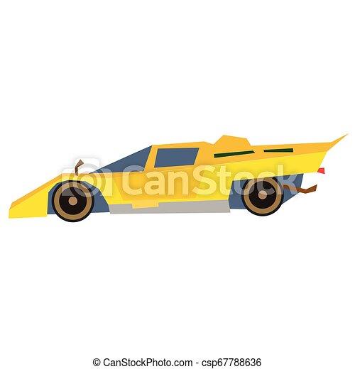 appartamento, automobile, giallo, illustrazione, bianco, sport - csp67788636