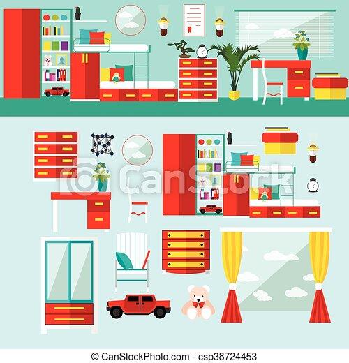 Appartamento bambini illustration icone casa vettore for Disegno interno casa