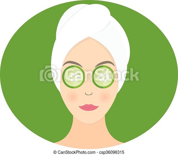 appartamento, cetriolo, donna, lei, maschera, illustrazione, vettore, disegno, eyes. - csp36096315