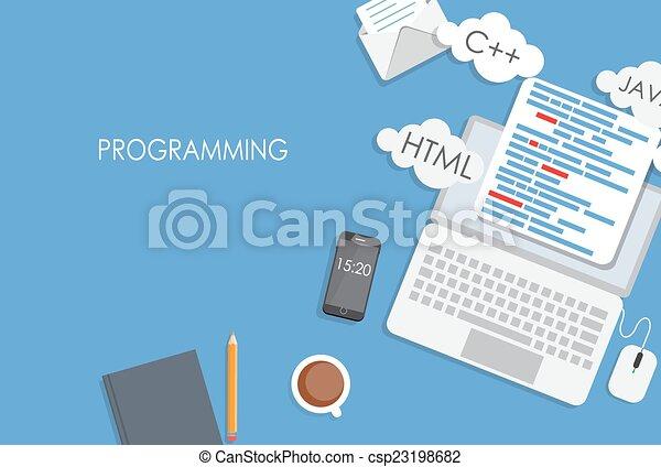 appartamento, concetto, codificazione, programmazione, illustrazione, vettore - csp23198682