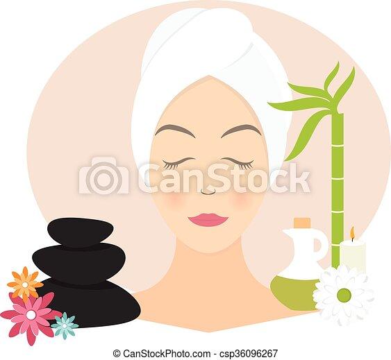 appartamento, donna, asciugamano, illustrazione, vettore, disegno, spa. - csp36096267