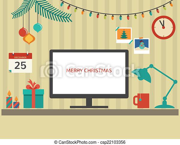 appartamento, elementi, santa, desktop, vettore, disegno, natale - csp22103356