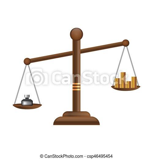 Appartamento Equilibrio Oro Scale Giustizia Soldi Monete