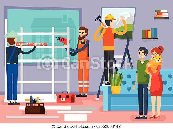 appartamento, lavorante, costruzione, composizione, manifesto - csp52863142