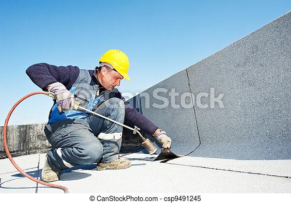 appartamento, mantello, feltro, tettoia, tetto, lavori in corso - csp9491245