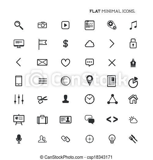 appartamento, moderno, minimo, icone - csp18343171