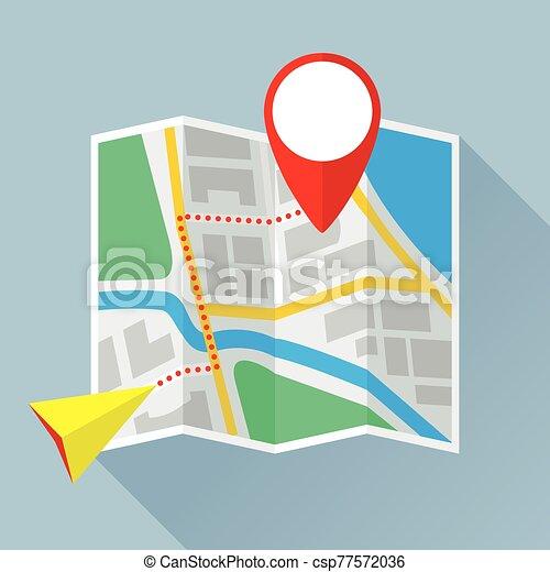 appartamento, piegatura, tappezzi percorso, mappa, icona - csp77572036