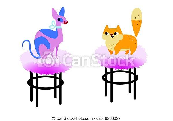 Appartamento Razza Due Cat Gatto Vettore Persiano